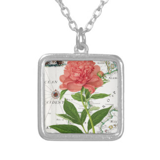 Peony Map Square Pendant Necklace