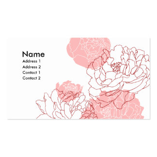 Peony Motif Profile Card Double-Sided Standard Business Cards (Pack Of 100)