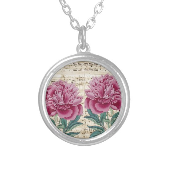 peony music silver plated necklace