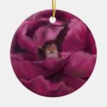 Peony Peek-A-Boo Christmas Ornament