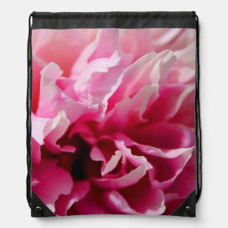 Peony Pink Flower Drawstring Bag