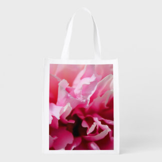Peony Pink Flower Grocery Bag Re-usable