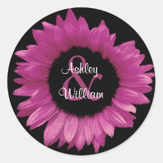 Peony Pink Sunflower Wedding Sticker