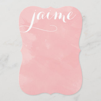 Peony Pink Watercolor Flat Card Stationery