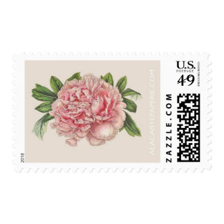 Peony Postal Stamp -Pink Floral Wedding Invitation