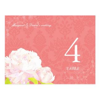 Peony + Postales del número de la tabla del boda d
