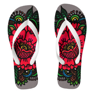 Peony rock flip flops