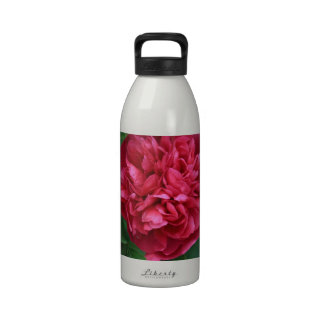Peony rojo con las hojas botella de agua reutilizable