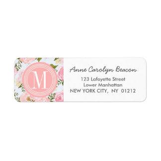 Peony rosado floral de los rosas del vintage femen etiqueta de remite