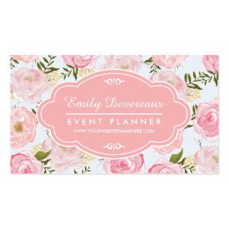 Peony rosado floral de los rosas del vintage femen plantilla de tarjeta de visita