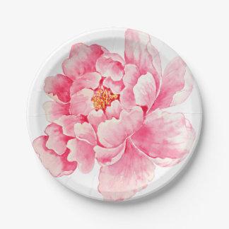 Peony rosado floral platos de papel
