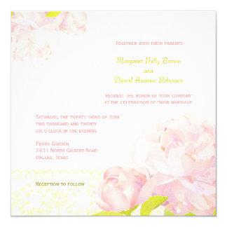 Peony rosado + Invitación elegante del boda del
