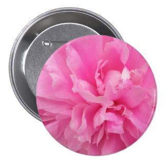 Peony rosado pin redondo 7 cm