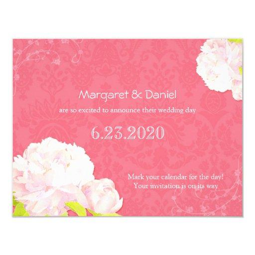 """Peony rosado suave + Reserva rosada coralina del Invitación 4.25"""" X 5.5"""""""