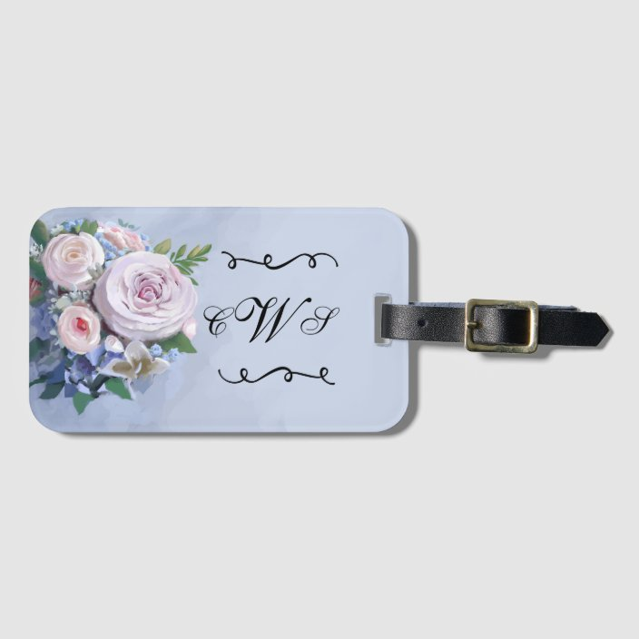 Round Luggage Tags Flower,Floral Watercolored Romantic Label Tag Address Holder