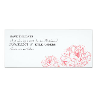 Peony Save the Date 4x9.25 Paper Invitation Card