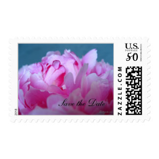 Peony Save the Date Wedding Postage Stamps