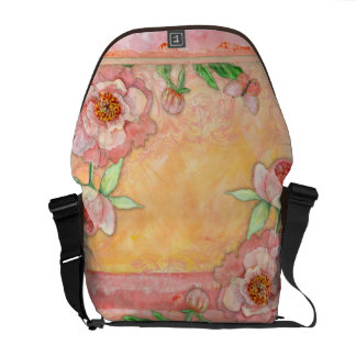 Peony Swirl Butterfly Hand Painted Floral Messenger Bag