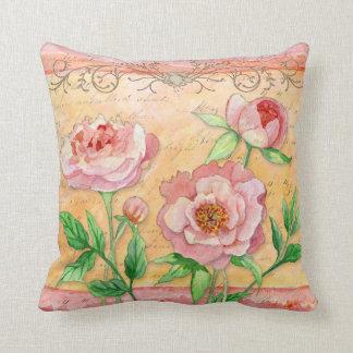 Peony Swirl Leaf Flourish Hand Painted Floral Pillow
