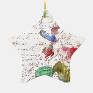 Peony Vintage Letter Ceramic Ornament