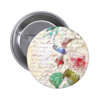 Peony Vintage Letter Pinback Button