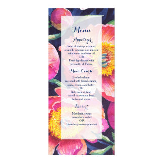 Peony Watercolor flowers wedding menu