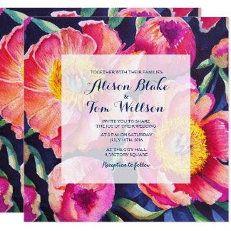 Peony Watercolor leaves wedding invitation