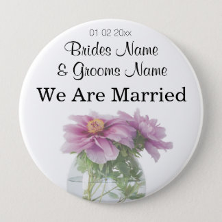 Peony Wedding Souvenirs Keepsakes Giveaways Pinback Button