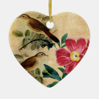 Peony with Nightingales Ceramic Ornament