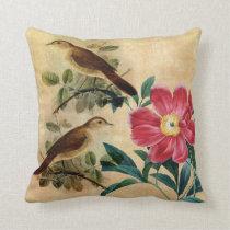 Peony with Nightingales Throw Pillow