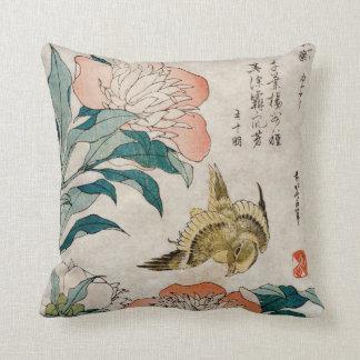 Peony y acuarela oriental amarilla almohada
