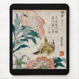 Peony y canario - cojín de ratón japonés del arte alfombrilla de ratones