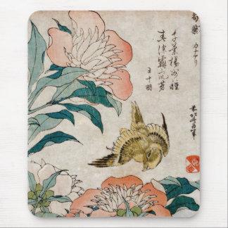 Peony y canario - cojín de ratón japonés del arte  tapete de ratón