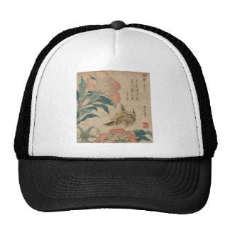 Peony y canario de Hokusai Gorro