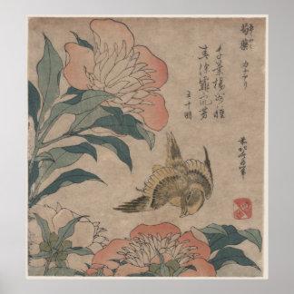 Peony y canario de Katsushika Hokusai Póster