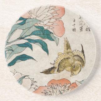 Peony y canario - práctico de costa japonés del ar posavasos manualidades
