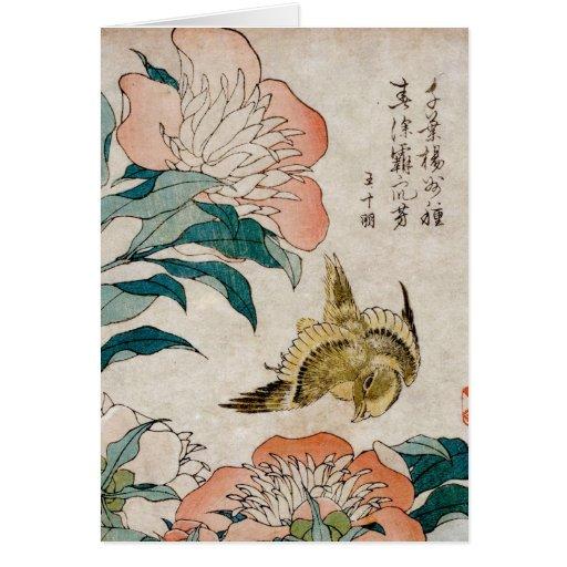 Peony y canario - tarjeta en blanco del arte japon