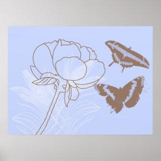 Peony y poster de las mariposas