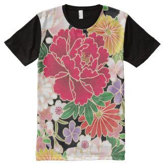 Peony Zinnia Sakura Japanese Floral Kimono All-Over Print T-shirt