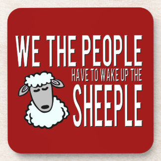 People and Sheeple - Political Humour Drink Coaster