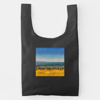 People at the beach reusable bag