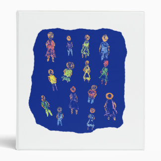 People Colorful Figures Drawing Torn paper against Vinyl Binder