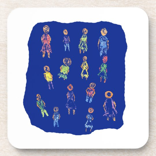 People Colorful Figures Drawing Torn paper against Coaster
