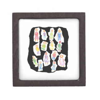 People Colorful Figures Drawing Torn paper against Gift Box
