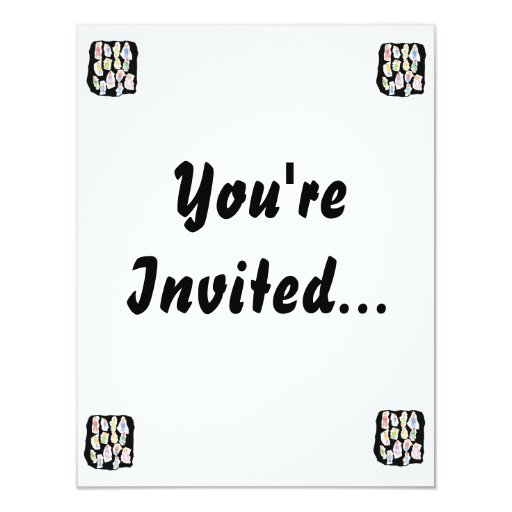 People Colorful Figures Drawing Torn paper against Personalized Invitation