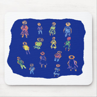 People Colorful Figures Drawing Torn paper against Mousepad