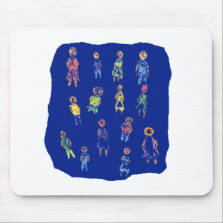 People Colorful Figures Drawing Torn paper against Mouse Pad