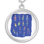 People Colorful Figures Drawing Torn paper against Personalized Necklace