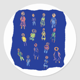 People Colorful Figures Drawing Torn paper against Round Sticker