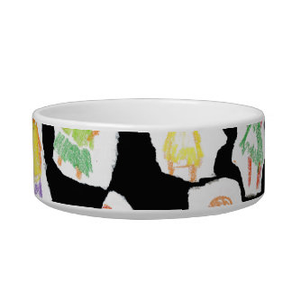 People Colorful Figures Drawing Torn paper against Cat Bowl